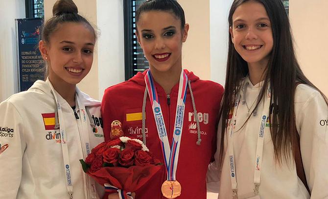 La gimnasta vasca Salma Solaun, bronce con en el Mundial junior de Gimnasia Rítmica de Moscú